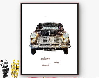 Classic Fiat car sign downloadable. Art decoration House, living room, office. Downloadable poster for printing. Christmas, Online poster.