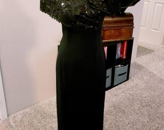 Vintage 80s Black Off-Shoulder Dress by JR Nites