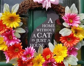 Cat lover gift Wreath, cat plaque, cat lover gift, pet lover, decoration, floral Wreath, cat flower wreath