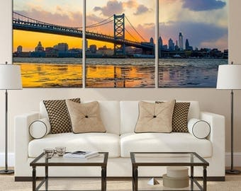 Philadelphia Ben Franklin Bridge Wall Art Canvas Print