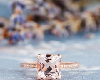 Cushion Cut Morganite Ring Rose Gold Engagement Ring Diamond Eternity Solitaire Wedding Women Anniversary Promise Gemstone Thin Unique Ring