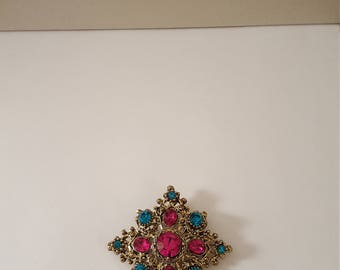 Mid 1980's Handmade Gold Tone Teal and Magenta Crystal Star Pin, Vintage Jewelry