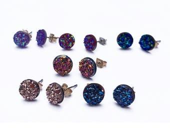 Small 8MM Borderless Druzy Earrings, HYPOALLERGENIC, Faux Druzy, Stud Earrings, Druzy Stud Earrings, Boho Jewelry.