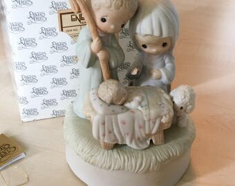 Vintage Precious Moments Come Let Us Adore Him Nativity Musical Movement E-2810