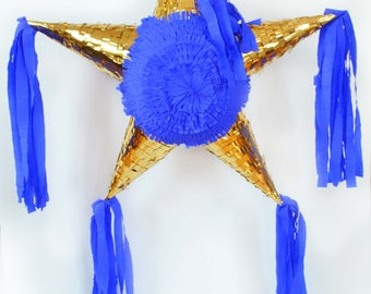 Gold/Blue Star Piñata with 5 tips