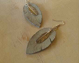 Burnished Leather Feather Earrings, Stormy Blue and Old Silver