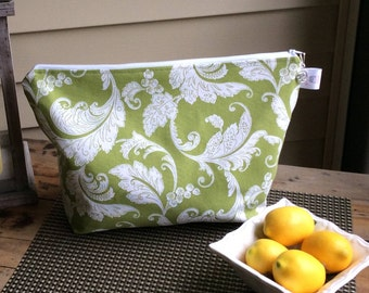 Green And White Paisley Oversized Knitting Project Bag