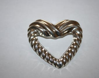 Mexico Open Heart brooch. Sterling  silver. This one is large and shinny!