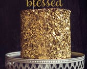 Fifty Years Blessed Cake Topper, Cake Decoration, Birthday Party, Glitter, Custom, Personalized, Gold, Silver, 50th Birthday