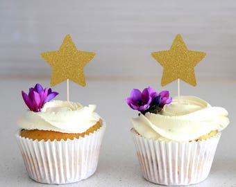 Star Cupcake Topper, Glitter Topper, Cake Decoration, Glitter, Party Decoration, Gold, Birthday, Baby Shower