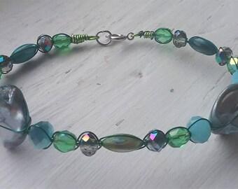 Blue Green Abalone Shell Bracelet 1