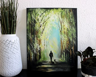Oil Painting on Canvas - Walking dog, walking in forest, walking towards the light, outdoors, contemporary art, green painting