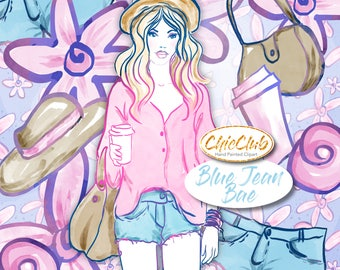 Watercolor Fashion Clipart  | Watercolor Boho Style | Watercolor | Girly Babe Boss | Pink Flowers DIY Fashion Girl, Coffee, Jeans
