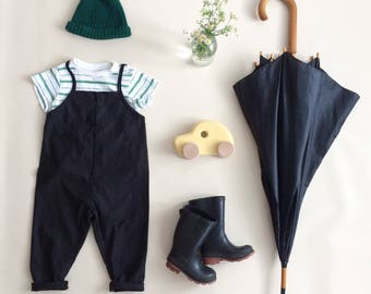 Kids and baby linen overalls (black)
