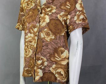 Vtg Bronze Shirt - Oversized Blouse - Plus Size Shirt - Womens Shirts - Sort Sleeve Button Up - Casual Cotton Shirt - Brown Roses Shirt