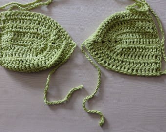 Crochet bikini with back or front opening, bright green