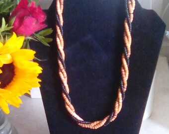 Natural glass beads, 3 strand, necklace
