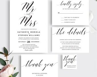 Printable Wedding Invitation Template, Mr & Mrs Wedding Invitation Set, Printable Wedding Invitation Set, Calligraphy Wedding Invitations