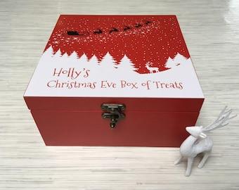 Beautiful Personalised Christmas Eve Treats Box Wooden Red XMAS Box GIFT