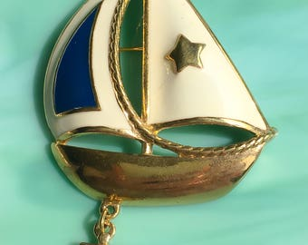 Enamel Sailboat Pin | 4th of July | Sailboat Brooch | Boating Jewelry | Lapel Pin | Nautical Jewelry | Gifts for Her | Vintage Jewelry
