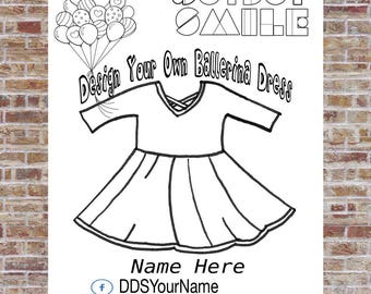 Ballerina Dress Coloring Page, Design a Dress, DotDotSmile, Marketing