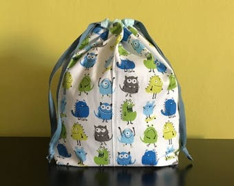 "Handmade drawstring bag / pouch for knitting crochet project 10.5"" x 7"" x 3""  *Monster Monsters*"