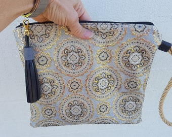Vintage brocade, metallic fibres, clutch, leather trims tassel,recycled materials, Pouch, Gold, Silver,Made in Australia, handmade