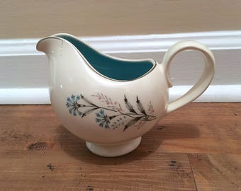 Taylor, Smith & Taylor Bachelor Buttons Creamer, White with Turquoise Interior and Platinum Trim