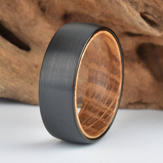 black tungsten wood ring lined with whisky barrel white oak. Black Bedroom Furniture Sets. Home Design Ideas
