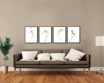 10R-22-12L-38L, pencil drawing dance sketch minimalist female figure abstract art print from original art by Ann Adams Set of 4