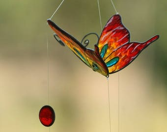 Butterfly suncatcher red haging decoration