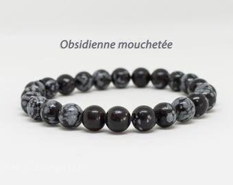 Bracelet 8mm snowflakes Obsidian 8 mm beads