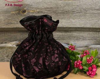 Pompadour bag, evening bag, Lady handbag, Bordeaux-black