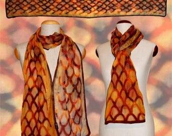 "Silk scarf ""reptile skin"" orange-brown, snakeskin-optic, Nuno-scarf, felt-scarf, silk, wool"