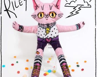 Riley the Wildcat - Soft minky cat plush doll with vibrant colours