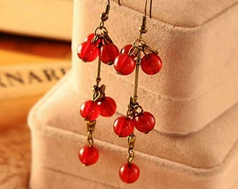 Cherry Earrings,Cherry Jewelry,Fruit Earrings,Fruit Jewelry,Dangle Cherry Fruit Earrings,Bronze Dangle Earrings,Fruit Lover Gift
