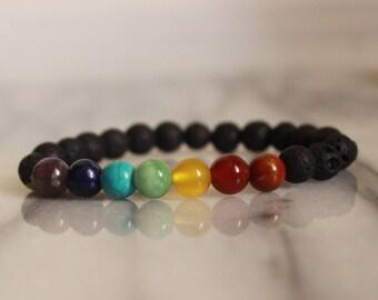 7 Chakra Crystal Bracelet with Lava Beads|Oil Diffuser Bracelet|Chakra Crystals|Healing Crystals|Reiki|Healing Bracelet| Gift|Chakra stones