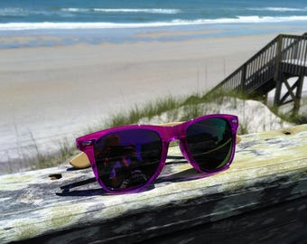 Bamboo Side Translucent Purple Sunglasses