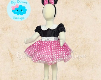 Pink Minnie Mouse Costume, Pink Minnie Mouse Dress, Pink Minnie Mouse Birthday Outfit