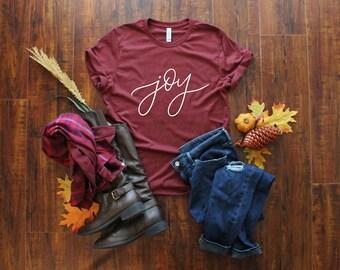 Joy Shirt - Christmas Joy T-Shirt - Joy to the World - Holiday Cheer Shirt - Women's Joy Shirt - Ladies Christmas Apparel - Comfy T-Shirt