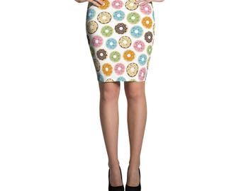 Donuts Spandex Skirt Pencil or Mini Skirt Womans Skirts Printed Fashion Bottoms Crazy Unique Outfit Stretch Doughnut Donut Printed Fabric