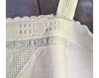 Antique french white cotton Lace Nightgown or Summer Dress A shape Beautiful condition