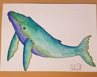 Humpback Whale Watercolor Print