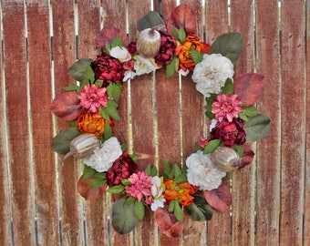 Front Door/ Farmhouse/ Fall/ Peonies/ Magnolia/ Housewarming/ Gift/ Magnolia Peony fall Wreath