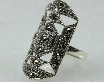 Art Deco Style Rectangular Shaped Marcasite Sterling Silver Ring Size: N-6 1/2