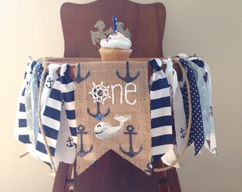 Nautical First Birthday High Chair Banner / Sea Sailor Anchor Whale/ Cake Smash Photo Shoot Prop / Party Decor / Navy White