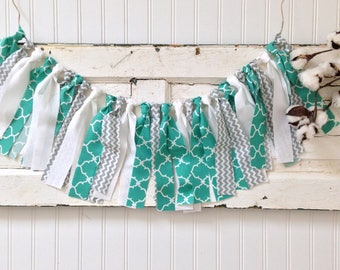 Fabric Banner/Baby Shower Birthday Party Decoration/Nursery Room Wall Hanging/Shabby Chic Rustic Decor /Caribbean Green Gray and White