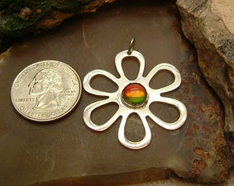 Ammolite Pendant Sterling Silver Rare Utah Gem Fossil Large Daisy Statement Pendant Statement Jewelry Ruby Red, Green Yellow Fire 046 BG