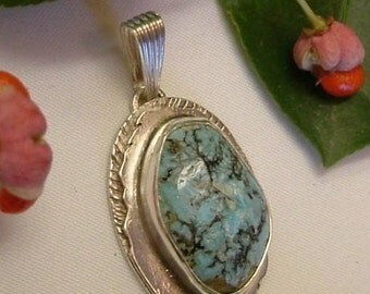 Turquoise Pendant Sterling Silver Natural Utah Gem Statement Jewelry Blue Black Brown Gemstone 145 G
