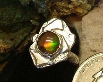 Ammolite Ring Sterling Silver Size 4 Pinkie Ring Pinky Dragon Eye Statement Ring Statement Jewelry Utah Gem Red Green Yellow Fire   256G